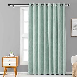 Melodieux Elegant Cotton Wide Blackout Curtains for Sliding Glass Door Living Room..