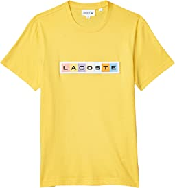 """Short Sleeve Graphic T-Shirt with Multicolor Lacoste Badge on Front """"Summer"""""""