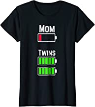Womens Tired Twin Mom Low Battery Charge T-Shirt