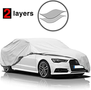 KAKIT Car Cover Waterproof All Weather, 2 Layers UV Protection Universal Sedan Car Covers with Free Windproof Ribbon & Anti-Theft Lock Fits Up to185