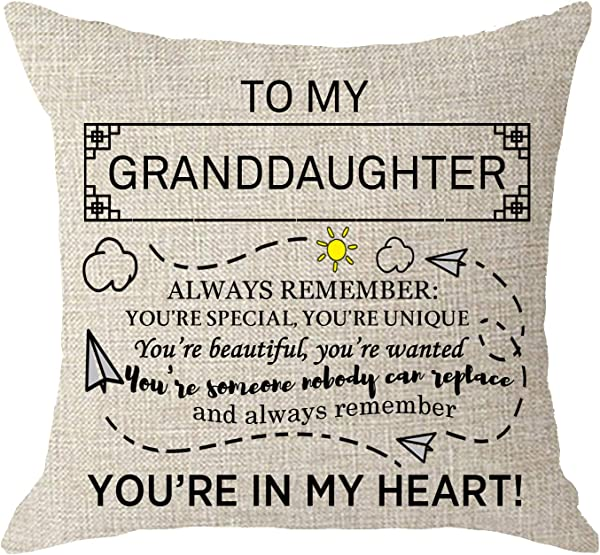 NIDITW Granddaughter Birthday Gift Always Remember You Are Special Unique Cream Burlap Throw Pillow Case Cushion Cover Sofa Bedroom Decorative Square 18x18 Inches