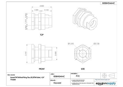 1-1//2 Size PVC with FPM Seals Socket x Socket End Hayward BFA1015SFS Series BFA Standard Flange Bulkhead Fitting