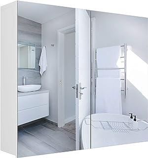 Homfa Armario Baño con Espejo Armario de Pared con 2 Armario Colgante Puertas 4 Compartimentos 70x15x60cm