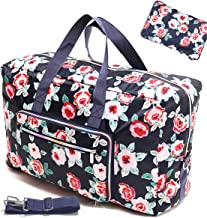 Travel Bag Foldable Large Travel Duffel Checked Bag Carry On Bag Luggage Tote Lightweight Tote Bag Weekender Bag 21.6IN x 9.8IN x 13.7IN (Flower Rose)