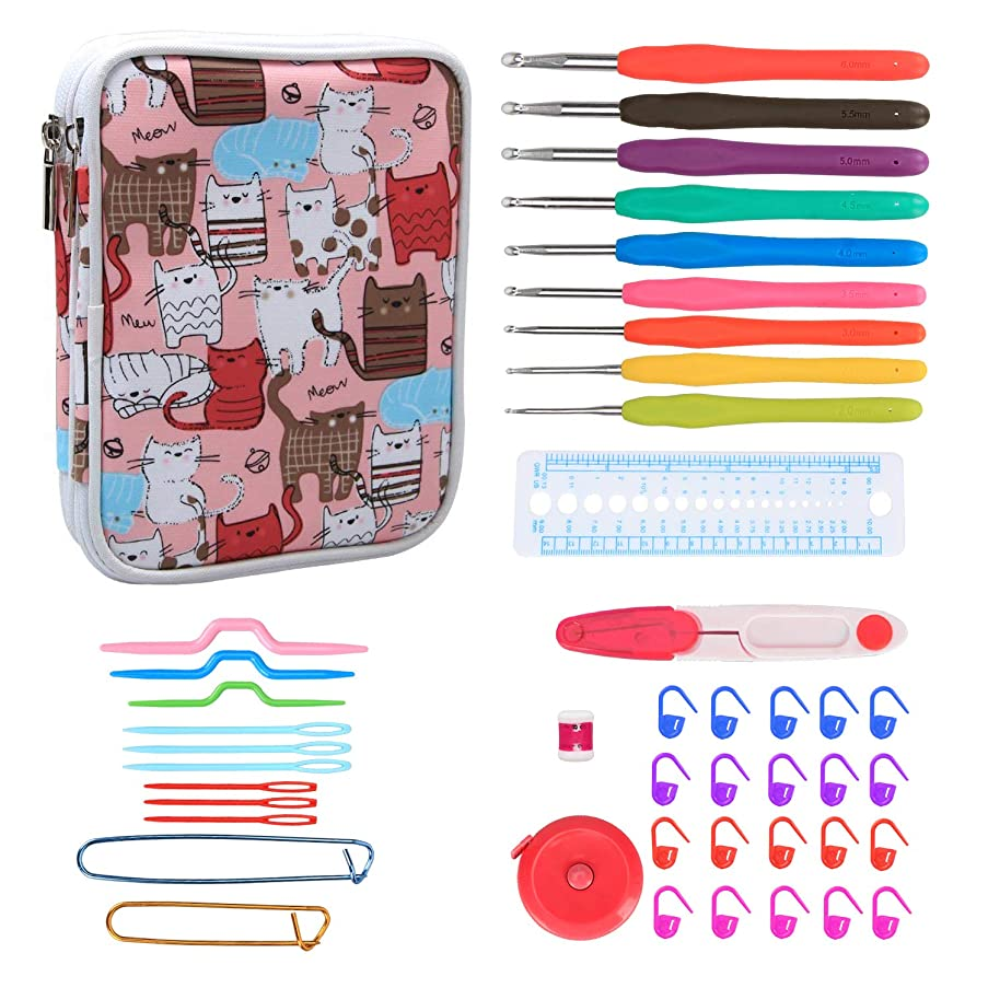 Teamoy Ergonomic Crochet Hooks Set, Crochet Accessories Set, Zipper Organizer Case With 9pcs 2mm to 6mm Soft Grip Crochets and Complete Accessories, Small Volume and Convenient to Carry, Cats Pink