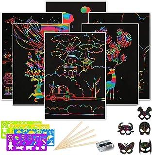 Dancepandas Scratch Art Para Niños 50PCS Papel De Rascar Dibujo Scratch Dibujos Magicos Manualidades Incluye 4 Plantillas De Dibujo 5 Palos De Madera Y Un Sacapuntas 5 Mascaras (26 * 18.5cm)