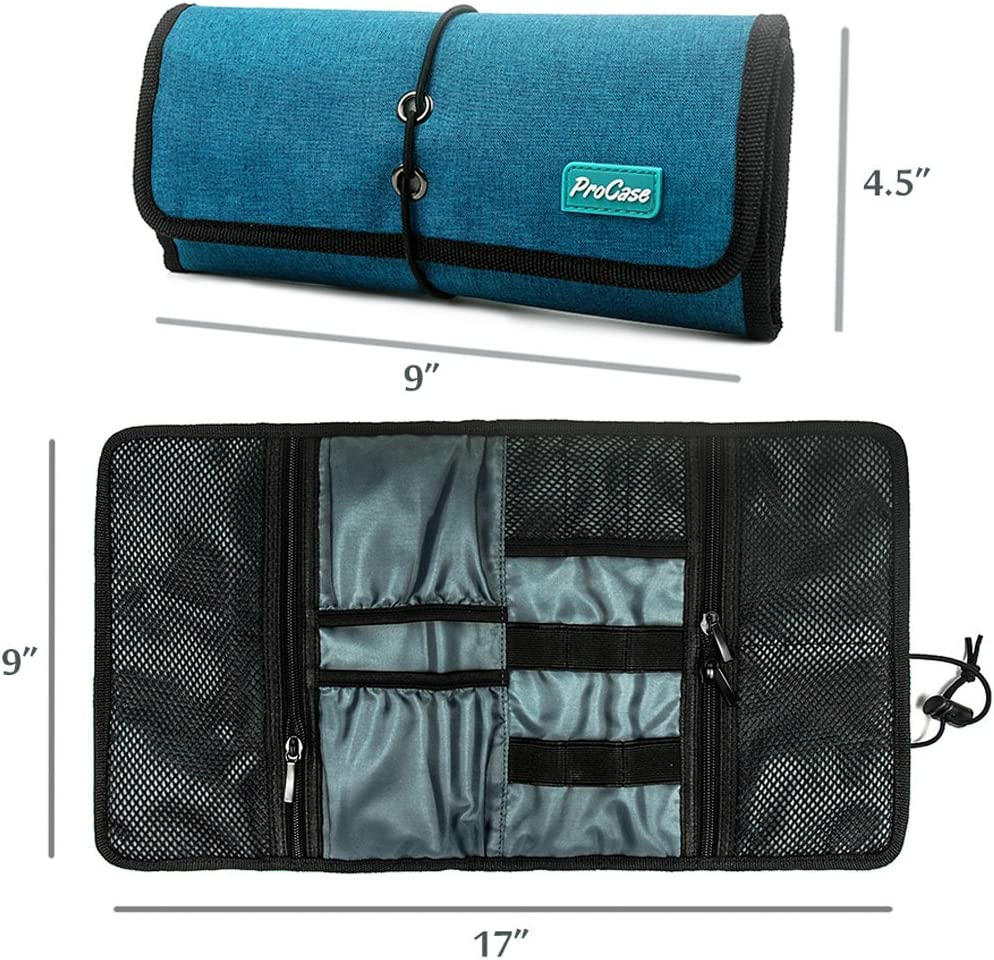 ProCase Accessories Bag Organizer, Universal Electronics Travel Gadgets Carrying Case Pouch for Charger USB Cables SD Memory Cards Earphone Flash Hard Drive –Teal