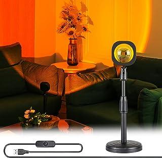 Projecteur de Coucher de Soleil, Lampe de projection sunset, Peut être Tourné de 180 Degrés, Hauteur Réglable Veilleuse po...