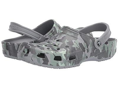 Crocs Classic Printed Camo Clog (Light Grey/Neo Mint) Clog Shoes