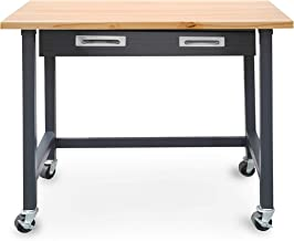 Seville Classics WEB484 UltraGraphite Wood Top Workbench on Wheels with Sliding Organizer Drawer