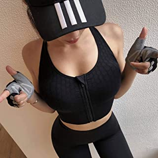 Sports Bra for Women Gym Zipper Yoga Crop Top Girls Bras Solid Push Up Vest Fitness Underwear Shockproof Activewear