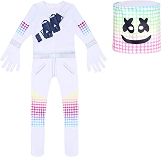 DJ Mars Halloween Christmas Cosplay Tight-Fitting Costumes Clothes for Kid Boys(White)
