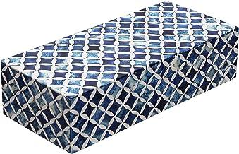 جعبه های هدیه جواهرات خانگی صنایع دستی - سازمان دهنده جواهرات و صندوق ذخیره سازی دفتر اتاق خواب دخترانه دخترانه - ساخته شده از استخوان بوفالو ، رزین اینلائی با آثار با کیفیت برتر چوب کاج MDF کاج (آبی-سفید)
