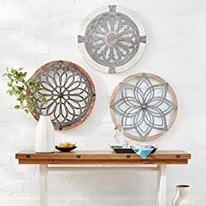 Heritage Round Wall Art -Metal Wooden Decorative Wall Medallions,Hand-Made Creative Wall Art Pediments, Intricate Crafts Decor Wall Decor for Home,Bedroom,Living Room,Porch,Outdoors (A)