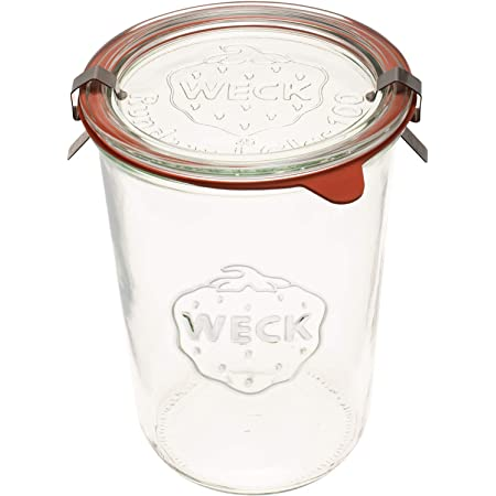 Weck Canning Jars 743 - Weck Mold Jar made of Transparent Glass - Eco-Friendly Canning Jar - Food Storage Container with Lid Airtight - 3/4 Liter Tall Jar - 1 Jar with Glass Lid and Rubber Gasket