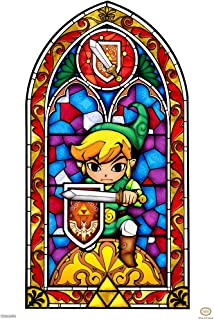 Pyramid America Legend of Zelda Stained Glass Sword Shield Video Game Gaming Cool Wall Decor Art Print Poster 12x18