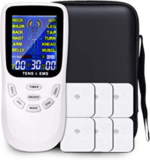 TENS & EMS Device, Muscle Stimulator for Pain Relief Therapy, Dual Channels Electronic Pulse Massager with Travel Hard Case, AST1009