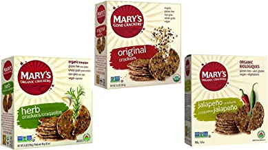 Mary's Gone Crackers Organic Crackers 3 Flavor Variety Bundle, (1) each: Herb, Original, Jalapeno (5.5-6.5 Ounces)