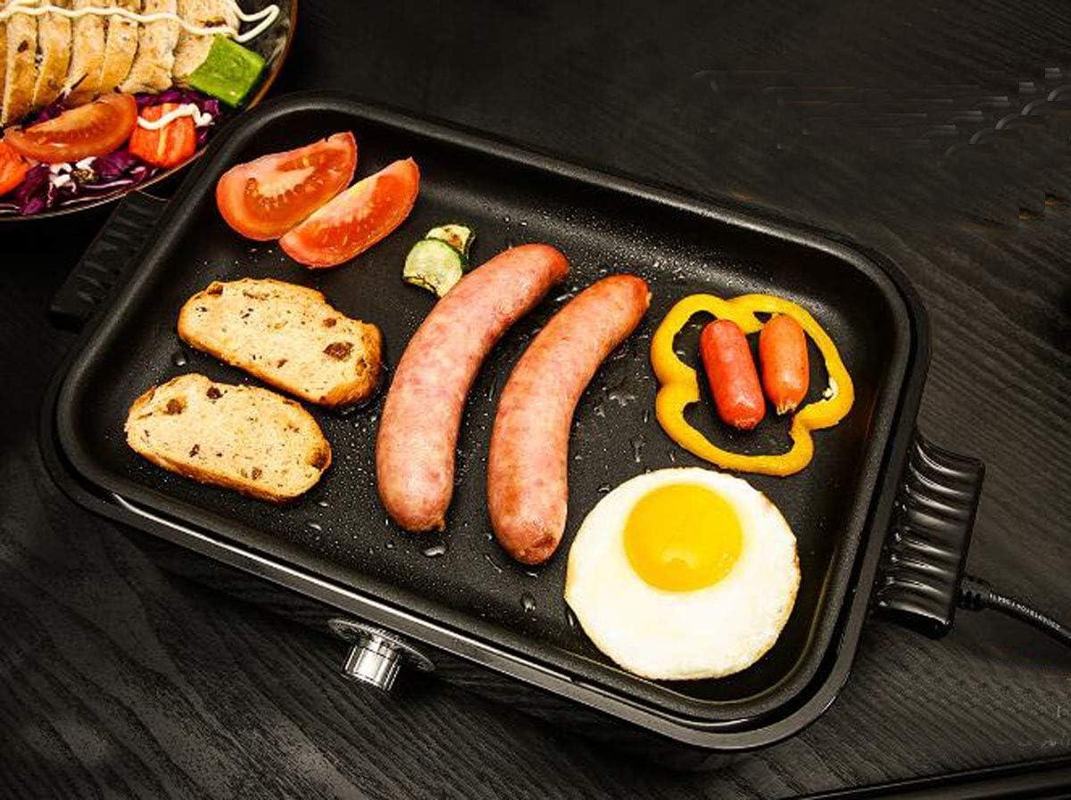 NANXCYR Poêle à frireFour de cuisson électrique multi-fonctions pour casserole de cuisson électrique pan sans fumée 1200w 375 * 235 * 140mm,White Black