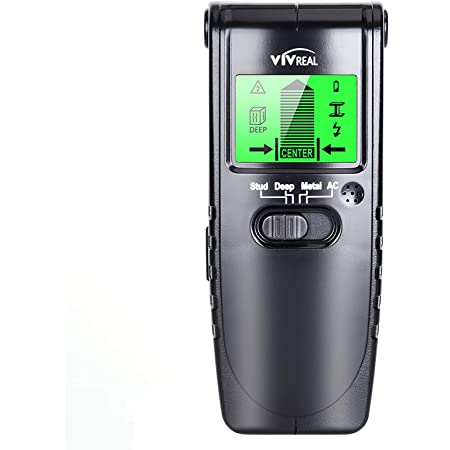 Stud Finder Wall Scanner - 4 in 1 Electric Wood Detector, Sensor Wall Scanner with LCD Display, Beam Finder Center Finding & Sound Warning for Wood AC Wire Metal Studs Detection (Black)