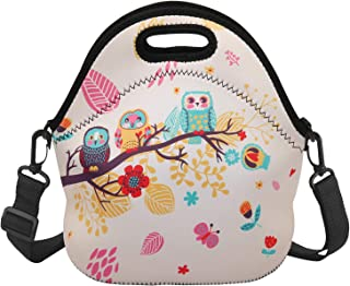 Violet Mist Insulated Neoprene Lunch Bag Thermal Tote Shoulder Strap Waterproof Outdoor Picnic Large Capacity Travel Handbag Lunch Box, Owl 1