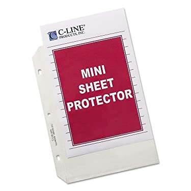 C-Line Top Loading Heavyweight Poly Sheet Protectors, Clear, Mini Size, 8.5 x 5.5 Inches, 50 per Box (62058)