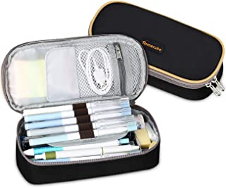 Pen Case, Homecube Big Capacity Pencil Bag Makeup Pouch Durable Students Stationery with Double Zipper, Black