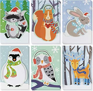 Christmas Card - 24-Pack Holiday Greeting Card, Merry Xmas Cards in 6 Cute Animal Designs, Cards with Message Inside - Seasons Greetings - Assorted Winter Handmade Cards with Envelopes, 4 x 6 Inches