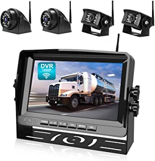 """$489 » Fookoo 1080P Wireless Backup Camera System Kit with Recording, 9"""" HD Quad Split Monitor & IP69 Waterproof Rear View Side V..."""