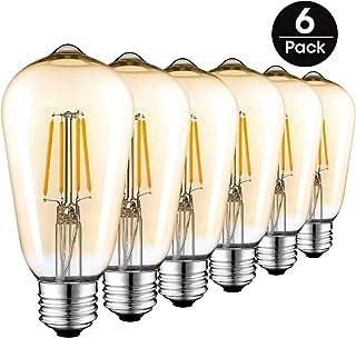 Bombillas LED Vintage E27, Retro Bombilla de Filamento Edison 4W(equivalente a 40w), ST64 Tornillo 220V-240V Lámpara Antigua Decorativa Bombillas, Cálido Blanco(6 Pack)
