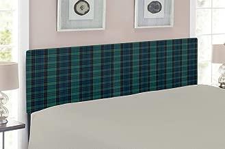 Ambesonne Tartan Headboard, Traditional Quilt Design Scottish Folklore Elements Plaid Pattern, Upholstered Decorative Metal Headboard with Memory Foam, for Queen Size Bed, Dark Green Black Dark Blue