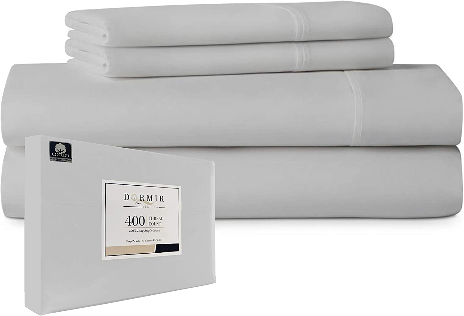 """Dormir California King Size Light Grey 4 Piece Sheets Set, 400 Thread Count 100% Combed Cotton Bed Sheets with Pillowcases, Long Staple Extra Soft Sateen Weave 16"""" Deep Pocket Easy Fit Bedding Set : Home & Kitchen"""