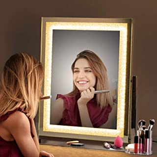 Large Vanity Mirror with Lights, Hollywood LED Lighted Makeup Mirror, Tabletop Metal Stand Mirror, USB Dimmable Touch Screen Cosmetic Mirror for Bedroom, Dresser Desk, Dressing Vanity Table