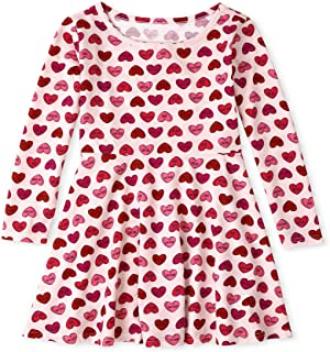 The Children's Place girls Long Sleeve Printed Pleated Dress Dress