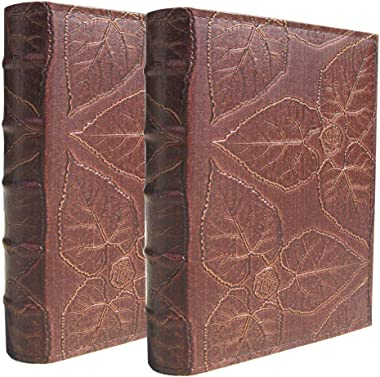 ZZKOKO Photo Album 4x6, Each Holds 200 Photos, PU Leather Cover Old Brown Family Kids Photo Albums, 2 Pack