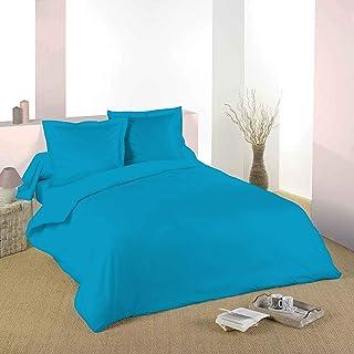 200x200cm Comptoir des Tisseurs Parure de lit 100/% Coton 2 Personnes Turquoise