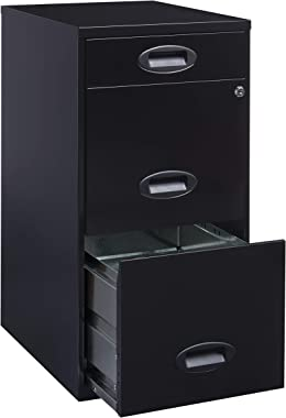 """Office Dimensions 18"""" Deep 3 Drawer Metal Organizer File Cabinet with Oval Handles, Black"""