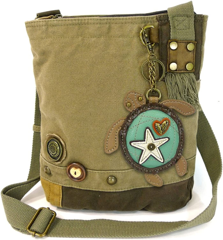 Chala Handbag Patch Crossbody Bag + Animal Coins Purse keyChain (Olive Turtle)