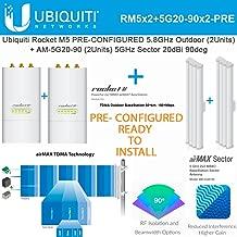 Ubiquiti Rocket M5 5.8GHz 2Pack PRE-CONF + AM-5G20-90 2Pack Sector Antenna 20dBi