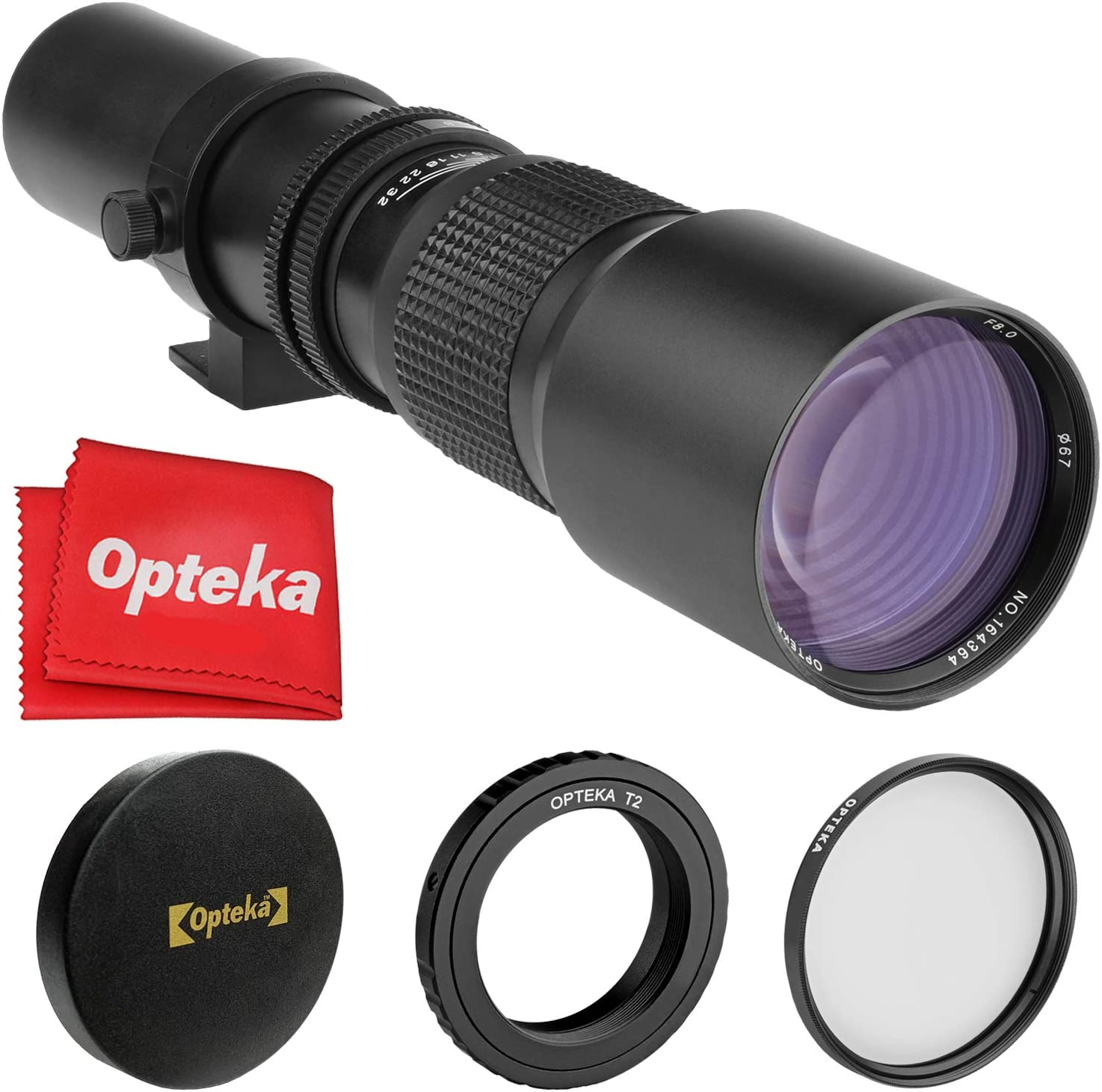 Opteka 500mm f/8 Telephoto Lens for Sony a9, a7R, a7S, a7, a6500, a6300, a6000, a5100, a5000, a3000, NEX-7, NEX-6, NEX-5T, NEX-5N, NEX-5R, 3N and Other E-Mount Digital Mirrorless Cameras
