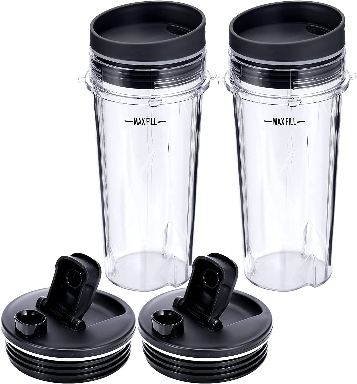 2pcs 16oz Blender Cup Set Compatible with Ninja Replacement Parts Single Serve Cup with Lid and Seal Lid Compatible with Nutri Ninja Series for QB3000 BL770 BL780 BL660 BL740 BL810 Blenders