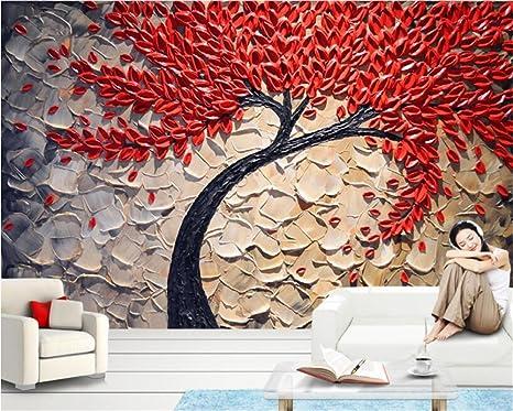 Amazon カスタマイズ お問い合わせ 3d壁紙赤い幸福の木油絵ステレオナイフペンの壁紙の写真の壁紙パペルデパレード By Zljtyn 壁紙
