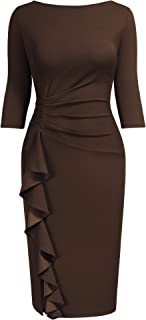 Women Retro Ruffle Elegant Business Pencil Sheath Dress