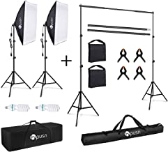 HPUSN Softbox Lighting Kit Continuous Equipment with 85W 5500K E27 Socket Light and 2 Reflectors 50 x 70 cm and 2 Bulbs. Background Support System Kit for Photography Studio with Clamp, Sand Bag, Carr