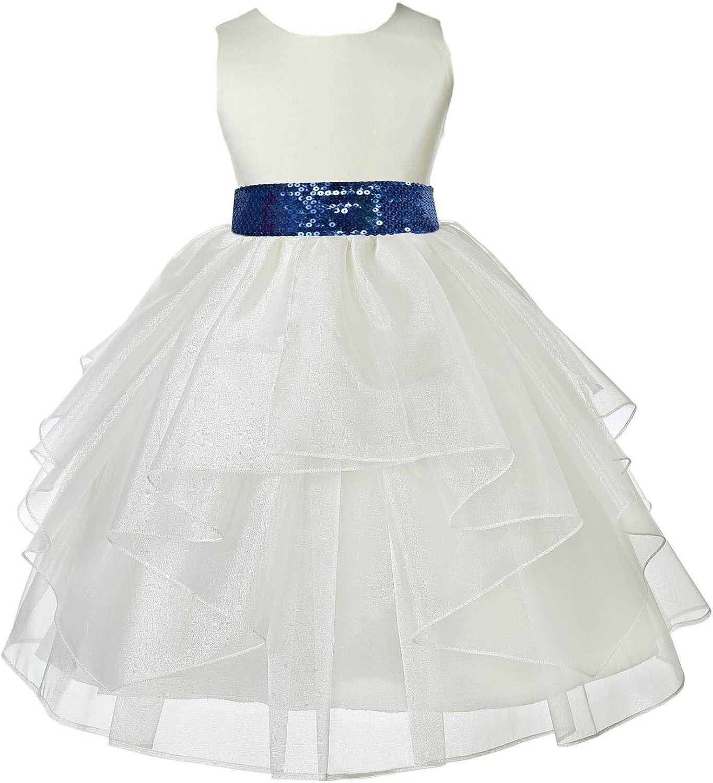 Ivory Satin Shimmering Organza Sequin Sash Flower Girl Dress Daily Dress 4613mh