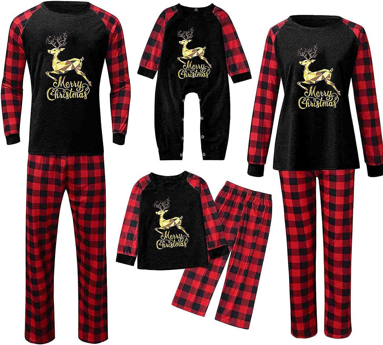 Matching Family Christmas Pajamas Set Women Men Long Sleeve Tops +Pants Xmas PJ's Holiday Sleepwear Sets
