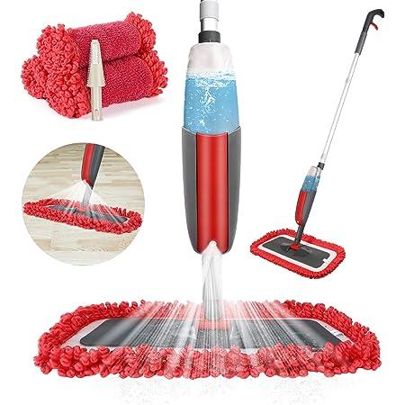 Balai lave sol avec vaporisateur,Winpok Microfibre balais serpillère pour Nettoyage du Sol en Spray Balai de Pulvérisation Balai Haut de Gamme (Rouge)