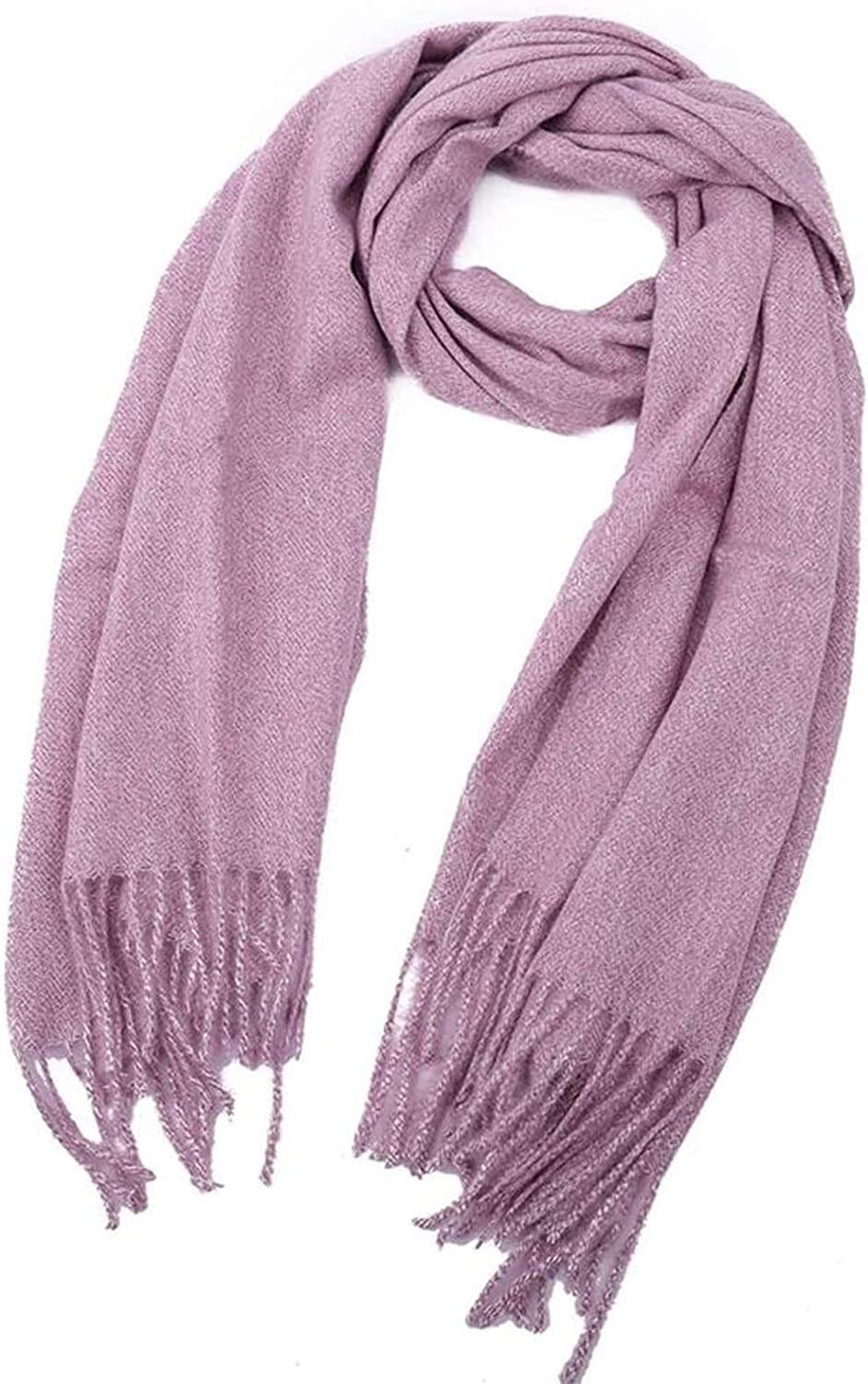 RSBCSHI Women's Winter Long Soft Warm Scarf Wrapped in Cotton Solid Color Fringed Shawl Long Shawl (Color : E)