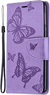 PU Leather Flip Cover Compatible with Samsung Galaxy A70, Elegant purple Wallet Case for Samsung Galaxy A70