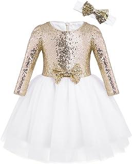 TiaoBug Vestito da Cerimonia Neonata Bambina Elegante Vestiti Principessa Abiti da Battesimo Compleanno Festa Regalo Vesti...